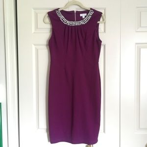 Bisou Bisou Purple Cocktail Dress Jeweled Neck